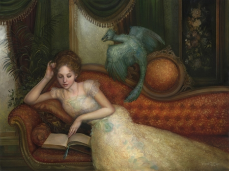 :) - art, fantasy, luminos, girl, reading, annie stegg, sofa, dragon, frumusete