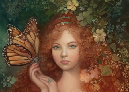 The garden monarch - face, monarch, red, art, frumusete, redhead, luminos, annie stegg, butterfly, girl, hand, garden