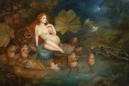 Halcyon garden - art, frog, water, fantasy, girl, halcyon garden, annie stegg, night, leaf