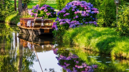 Boat reflections in the river - rest, boat, grass, flowers, summer, beautiful, river, reflections, hydrangea