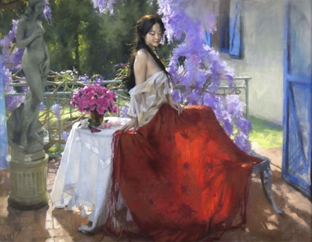 ♥ - vara, girl, painting, summer, vicente romero redondo, pictura, red, art, garden, flower