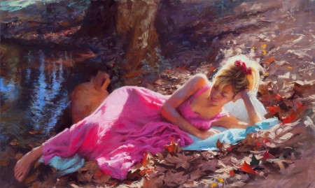 ♥ - art, vara, girl, painting, summer, vicente romero redondo, pink, picnic, pictura