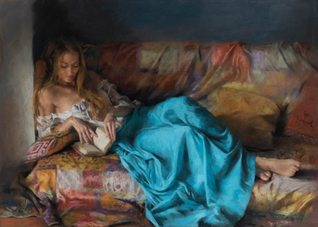 Reading - art, girl, reading, painting, book, vicente romero redondo, pictura, blue, sofa