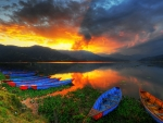 Sunset at Phewa Lake, Pokhara, Nepal