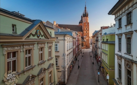 Krakow, Poland - Krakow, church, houses, street, Poland