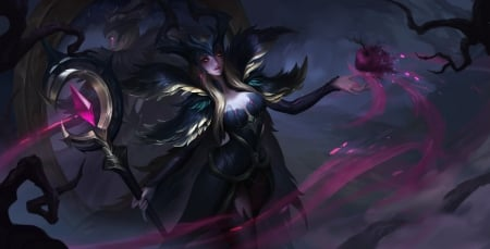 Leblanc - mortal, purple, girl, dark, black, leblanc, lol, league of legends, game