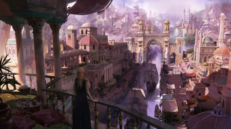 Daenerys - game of throne, world, view from the top, art, frumusete, luminos, terrace, fantasy, city, girl, daenerys targaryen, size, pink