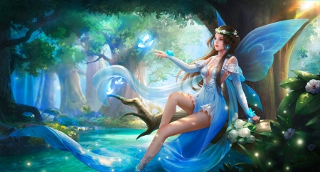 Butterfly Fairy - pretty, art, fantasy, girl, digital, woman, blue, fairy