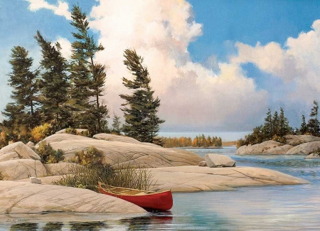 A day at the lake - trees, water, painting, island, canoe, artwork