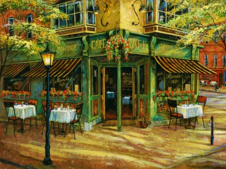 Mandi's Cafe - tables, house, restaurant, painting, chairs, artwork