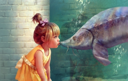 First kiss - alon chou, fish, orange, kiss, cute, water, vara, green, pesti, girl, copil, summer, child