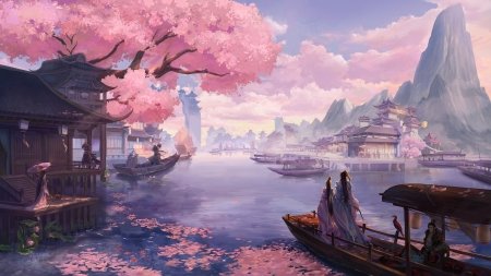 ♥ - world, art, frumusete, zhi yang, luminos, spring, superb, water, tree, boat, fantasy, pink, gorgeous, couple, blue