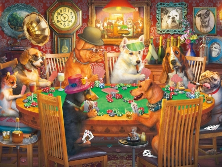 Poker pupps - art, fantasy, orange, poker, green, caine, dog, card, funny