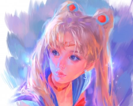 Sailor Moon - z wy, zwyart, sailor moon, face, pink, zwy, art, manga, girl, anime, blue