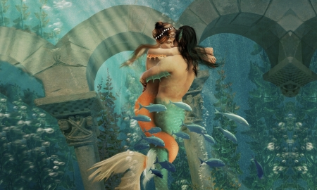 Entwined in Love - enchanting, fantasy, dreamy, Mermaids, love, ocean, mythical, digital art, couple