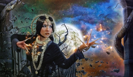 Goddess luta Fata - Fatalia - goddess, fantasy art, dreamy, Moon, Fantasy girl, Magical