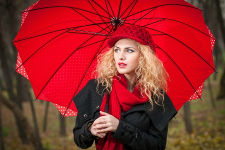 Her Favorite Color is RED - umbrella, blonde, model, hat