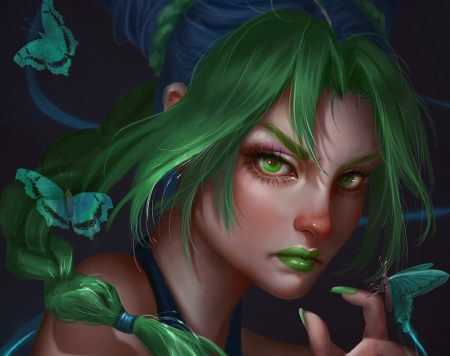 Jolyne Kujo - fantasy, usagi christy lam, green, butterfly, hand, face, jolyne kujo, art, luminos, dark