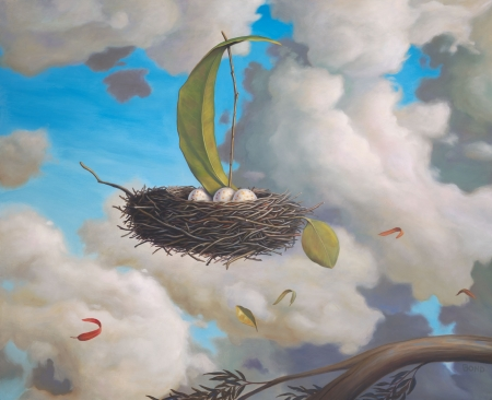 A favorable wind by Paul Bond - art, cloud, wind, easter, egg, vara, fantasy, boat, paul bond, nest, summer, painting, surreal, pictura, white, blue, luminos