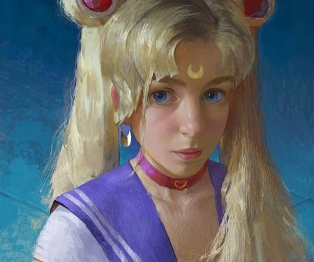 Sailor Moon - anime, manga, sailor moon, face, realistic, art, luminos, blonde, fantasy, arseniy melnyk, girl