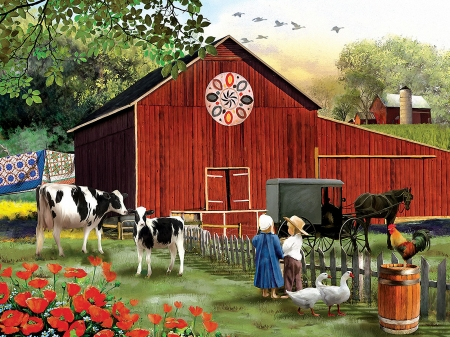 Country Serenity - poppies, painting, children, coach, horse, cows, barn, artwork