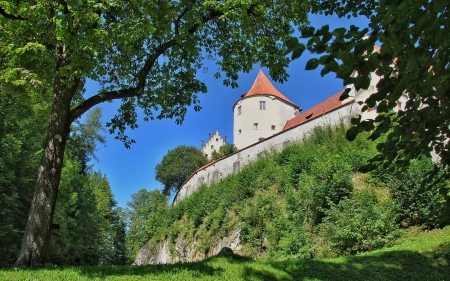 Fuessen Castle, Germany - rock, trees, Germany, castle