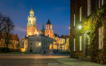 Krakow, Poland - Wawel, lantern, Poalnd, dusk, Krakow, castle, church, lights