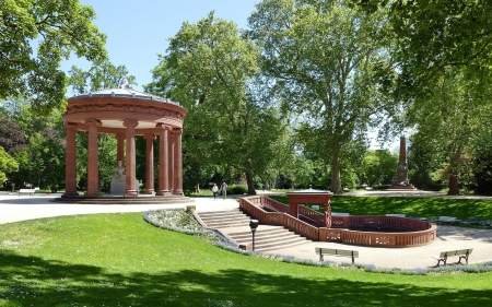 Park in Homburg, Germany - park, gazebo, Germany, sculpture, rotonda