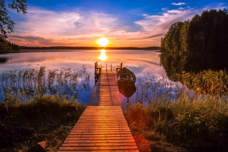Amazing sunset - lake, rural, amazing, pier, sunset, beautiful, sky, lakeside, dock, boat, Finland, summer, reflection, fishing
