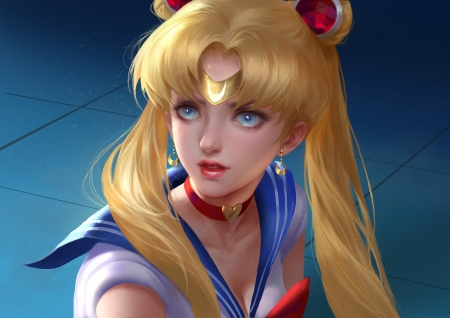 Sailor Moon - yellow, sailor moon, blonde, face, blue, art, luminos, manga, fantasy, jilly liu, anime