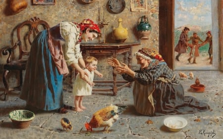 First steps by Eugenio Zampighi - art, eugenio zampighi, painting, child, baby, pictura, mother, grandmother, copil
