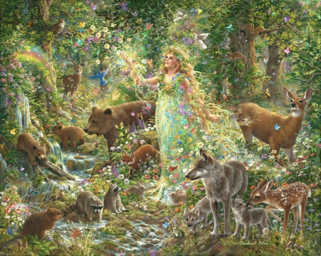 Mother Nature's Magic - forest, art, squirrel, frumusete, luminos, brown, bear, raccoon, deer, fantasy, urs, girl, green, lup, wolf, liz goodrick dillon