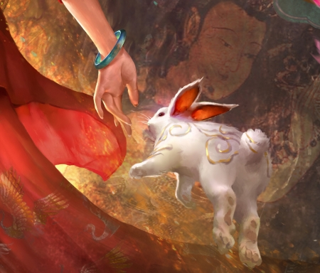 The Goddess Chang'e flying to the moon (detail)) - red, art, xiao sen, change, frumusete, rabbit, chang e, luminos, detail, goddess, superb, fantasy, hand, bunny, white, gorgeous