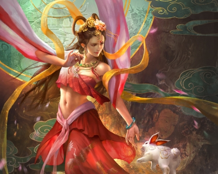 The Goddess Chang'e flying to the moon - xiao sen, change, red, frumusete, rabbit, luminos, luna, chang e, goddess, superb, moon, fantasy, girl, bunny, pink, gorgeous, hand