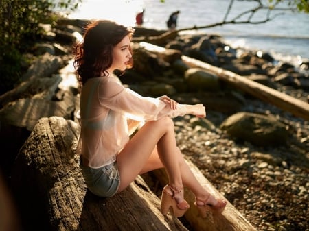 Alexia Fast - Alexia, legs, model, beautiful, blouse, sexy, heels, beach, water, Alexia Fast, actress, Fast, feet, shorts, wallpaper, 2020