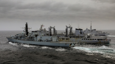 WORLD OF WARSHIPS FRENCH FRIGATE AQUITAINE AND RN TYPE 23 HMS NORTHUMBERLAND - ONE TANKER, ON EXCERCISES, REPLENISHMENT, TWO FRIGATES, CHOPPY SEAS
