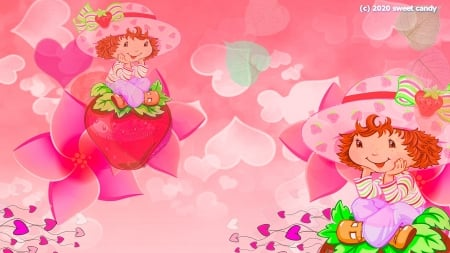 Strawberry Shortcake - pink, Strawberry Shortcake, red, cute, fantasia, wallpaper para chicas, lovely