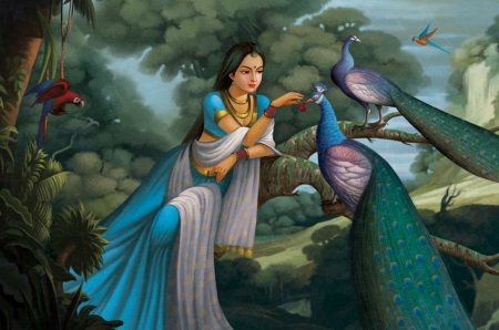 Princess and peacocks by Babu Kuttan - babu kuttan, bird, girl, paun, pasari, peacock, princess, blue, fantasy