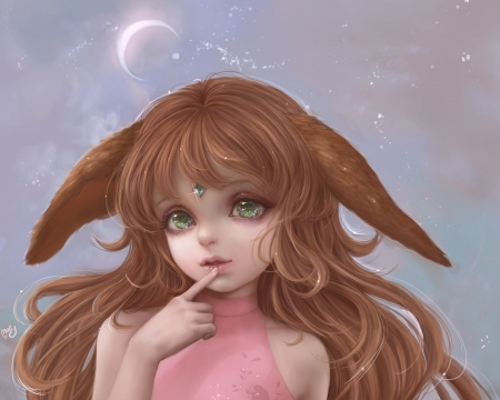 Starry Chibi by Molly Moore - girl, fox, molly moore, ears, pink, bronw, frumusete, luminos, cute, moon, fantasy