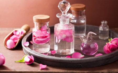 SPA - jar, bottle, glass, rose, spa, petals, SPA