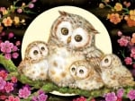 Owl family and flowers by Kayomi Harai