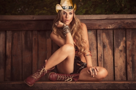 Just Waiting - bench, hats, ranch, cowgirls