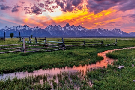 Teton Range, Wyoming - fence, colors, river, sunset, reflections, sky, clouds, landscape