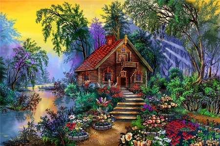 Summer by the river - stairs, painting, flowers, path, cabin, sunset, trees