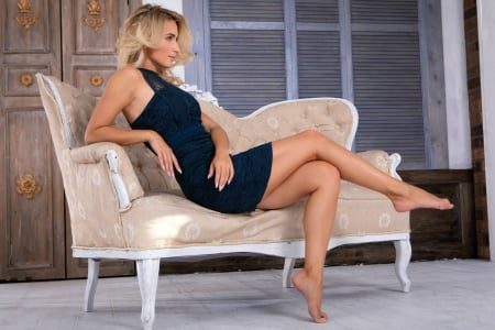 Beautiful Cara Mell in a Blue Dress - blonde, dress, sofa, model