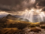 Sun Rays Upon The Mountains