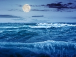 Moon Over Ocean Waves