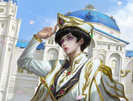 Lelouch Lamperouge - fantasy, frumusete, girl, luminos, evening newmusic, white, blue, art, golden, lelouch lamperouge