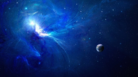 Blue explosion - planet, space, blue, fantasy, luminos, cosmos