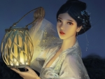 Girl with lantern by Saasiu Sashao